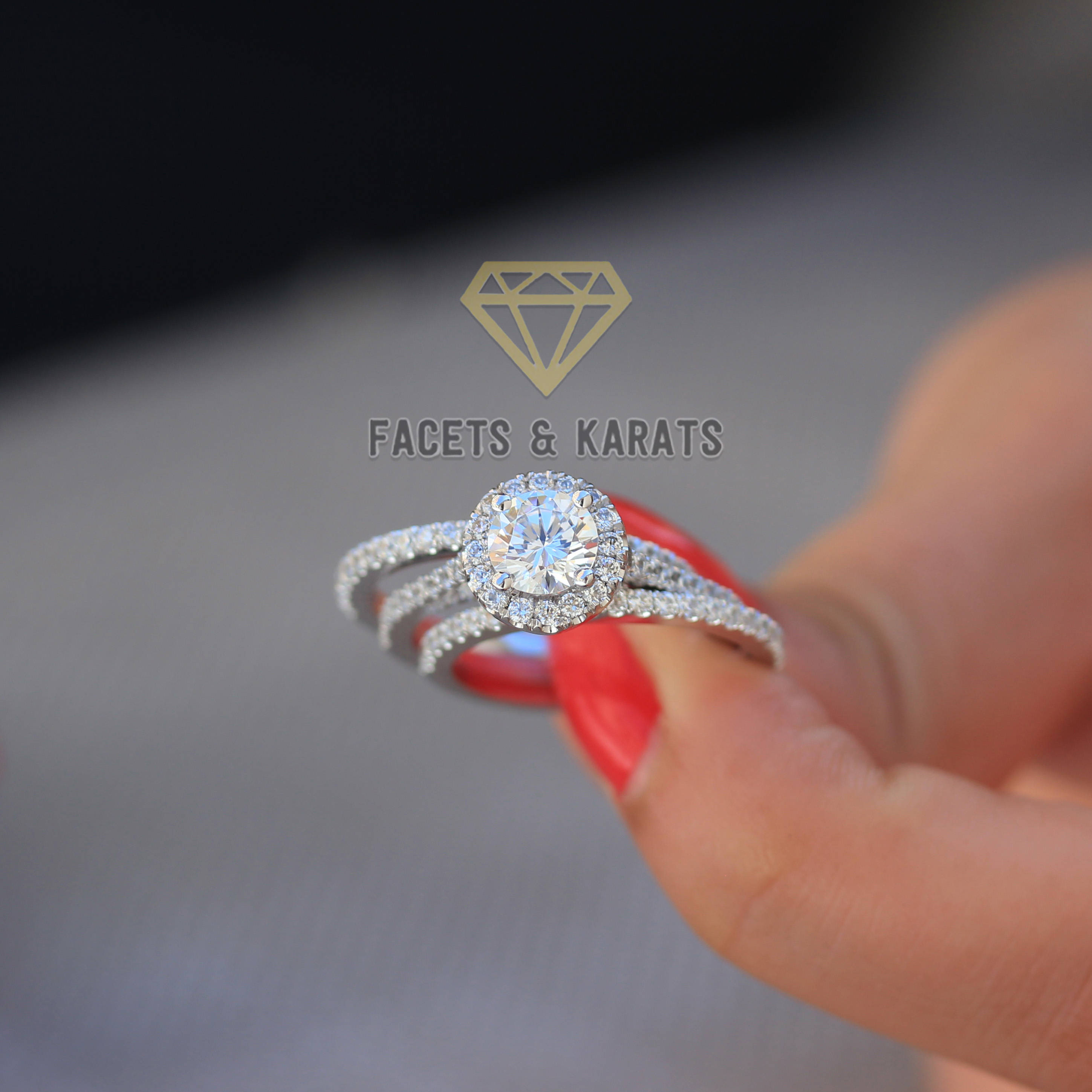 18K White Gold Round Cut Engagement Ring Bridal Set 3 Carat Round Halo  Diamond Wedding Ring & Wedding Bands Man Made Simulated Diamonds With Most Popular Diamond Double Frame Anniversary Bands In White Gold (View 3 of 25)