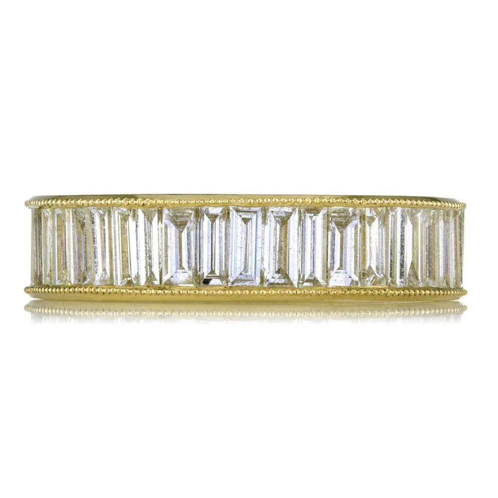 18k Yellow Gold Vertical Baguette Diamond Eternity Band Throughout Most Popular Baguette Diamond Anniversary Bands In White Gold (View 9 of 25)