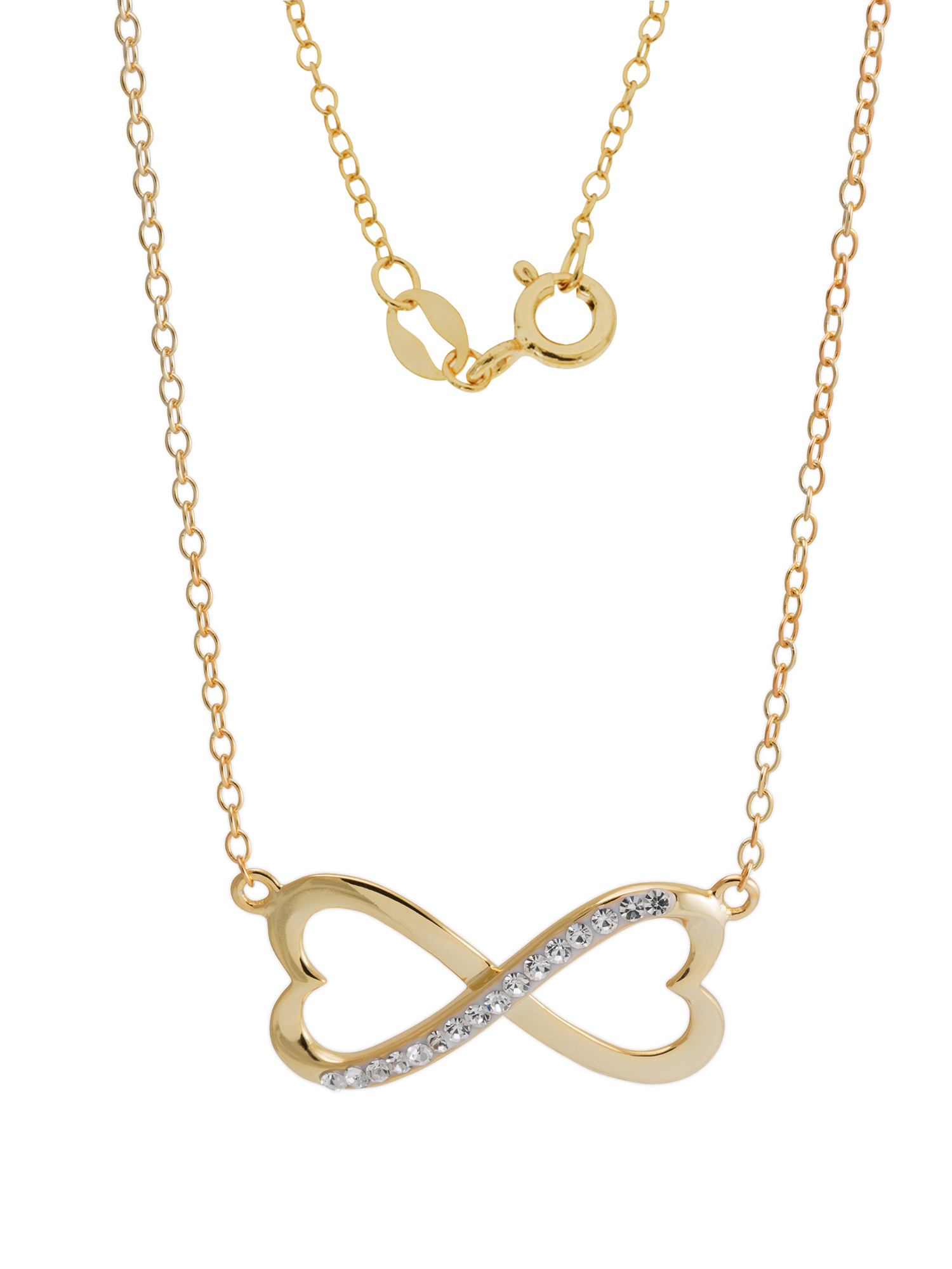 18kt Gold Over Silver Clear Crystal Infinity/heart Necklace With Current Heart Fan Pendant Necklaces (View 15 of 25)