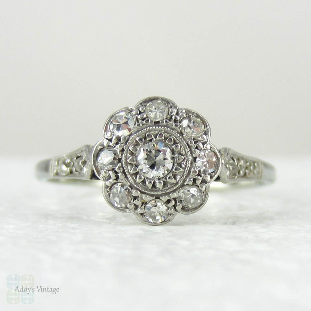 1920S Diamond Engagement Ring, Daisy Shaped Diamond Cluster (View 3 of 25)
