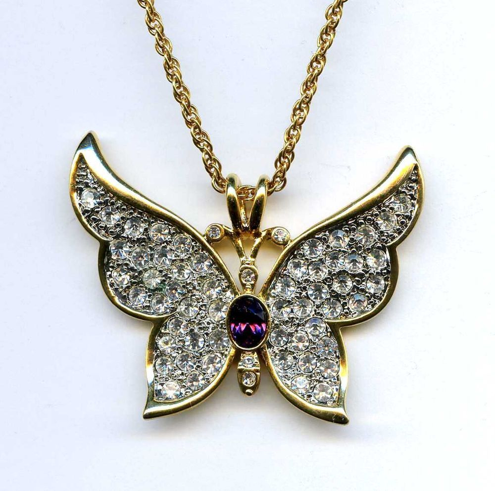 1999 Ps Co Butterfly Crystal Rhinestone Pave Gold Tone Pendant Intended For Most Up To Date Blue Pavé Butterfly Brooch Necklaces (Gallery 12 of 25)