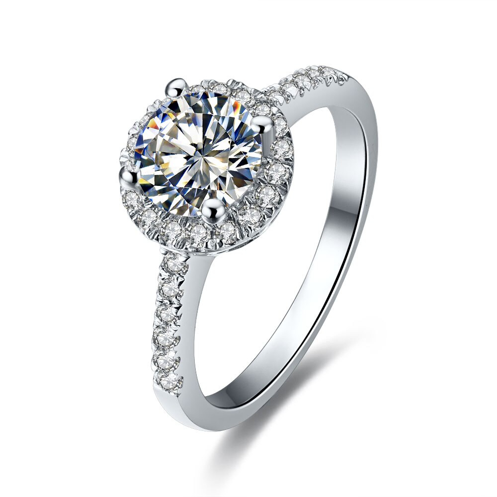 1ct Round Moissanite Diamond Wedding Ring For Women Anniversary Clarity Vvs1 Enhanced Quality White Gold Cover In Rings From Jewelry & Accessories On Throughout Recent Enhanced Black And White Diamond Anniversary Ring In White Gold (View 13 of 25)