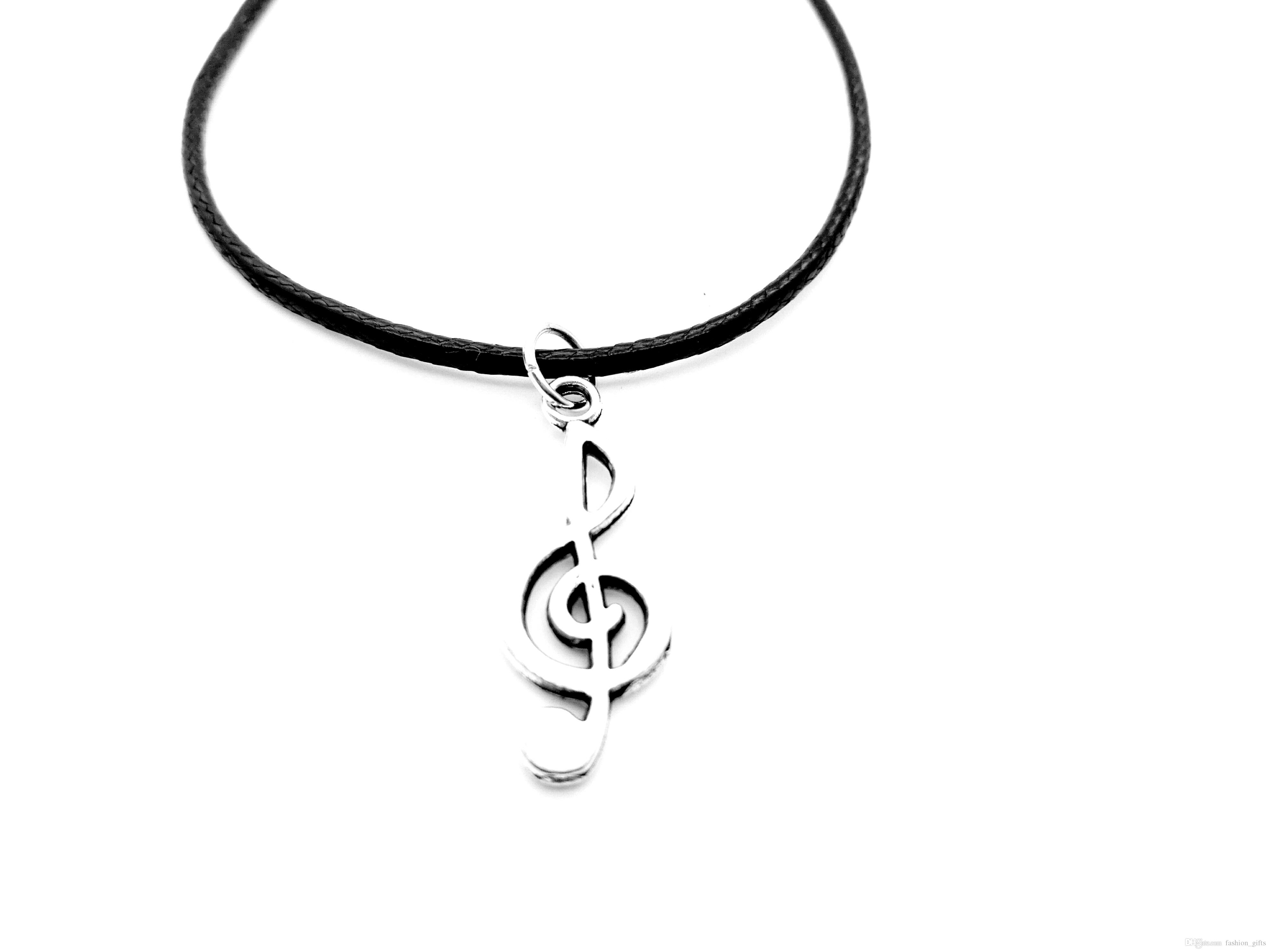 1pc Small Antique Silver Note Necklace Music Symbol Theme Pendant Necklace Music Symbol Element Leather Rope Necklace Lucky Amulet Jewelry Inside Most Popular Letter R Alphabet Locket Element Necklaces (View 13 of 25)
