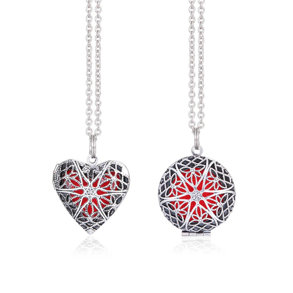 1Pcs Heart Brass Hollow Out Flower Pattern Filigree Fragrance Diffuser Necklace Locket For Essential Aromatherapy Jewelry Within Newest Chiming Filigree Hearts Pendant Necklaces (View 22 of 25)