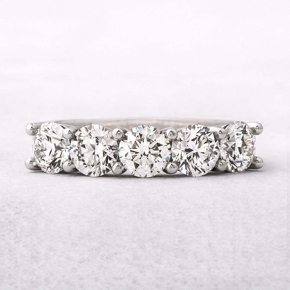 2.01Ct Platinum Five Stone Diamond Eternity Ring Throughout 2019 Diamond Five Stone Anniversary Bands In Sterling Silver (Gallery 21 of 25)