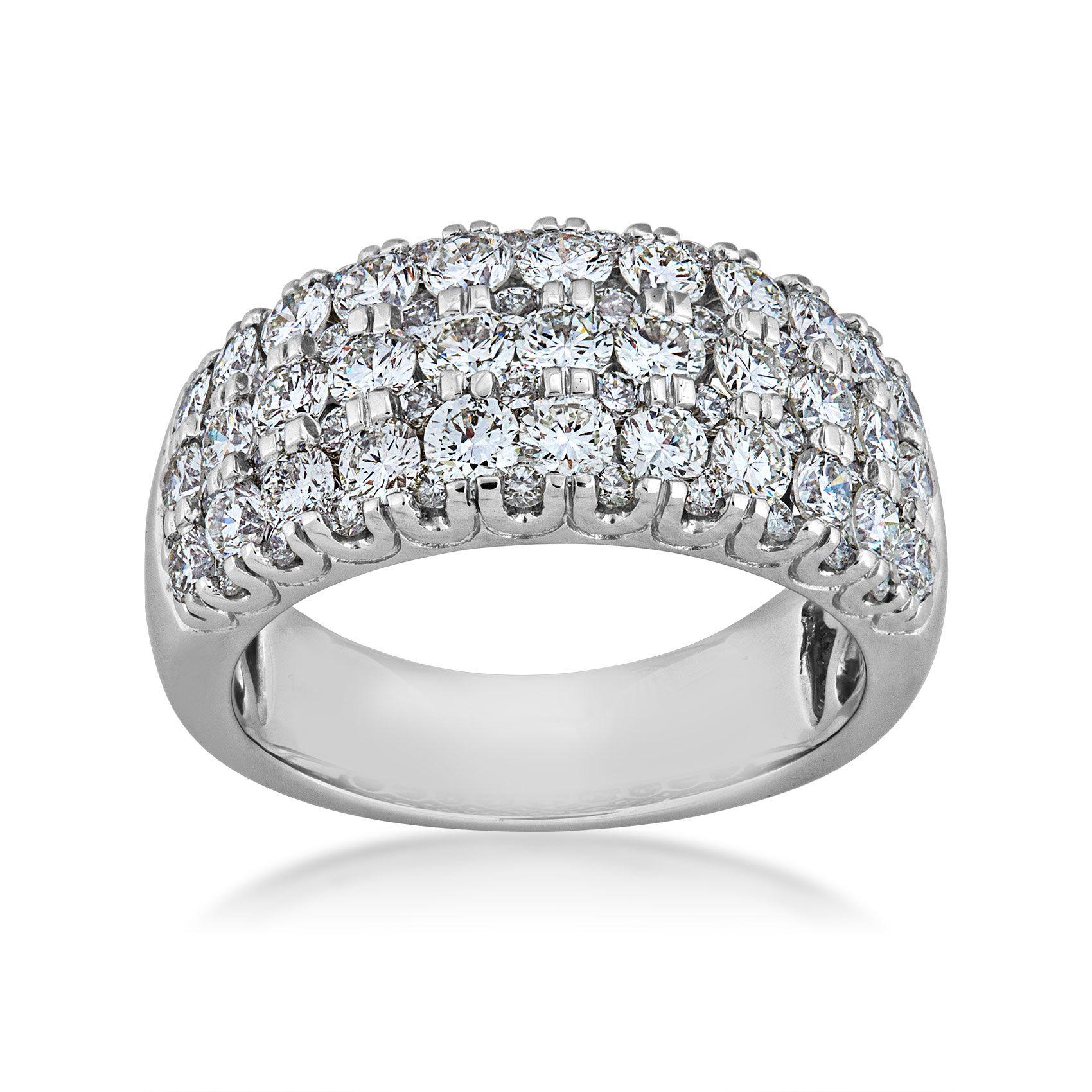 2 1/2 Ct. Tw. Round Diamond 3 Row Anniversary Ring In 14K White Gold –  Qr0350L@ 14W Inside Most Popular Diamond Three Row Anniversary Rings In White Gold (Gallery 9 of 25)