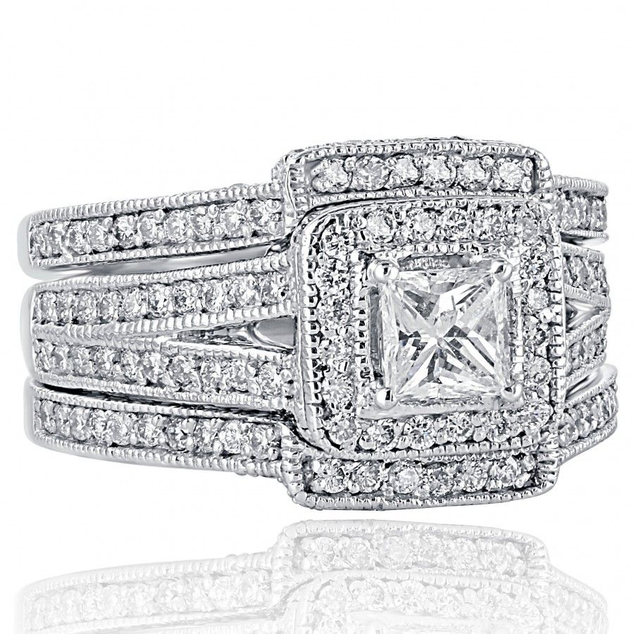2.26 Tcw Princess Cut Diamond Engagement Wedding Ring Set 14K White Gold With Regard To Most Up To Date Certified Princess Cut Diamond Contour Anniversary Bands In White Gold (Gallery 5 of 25)