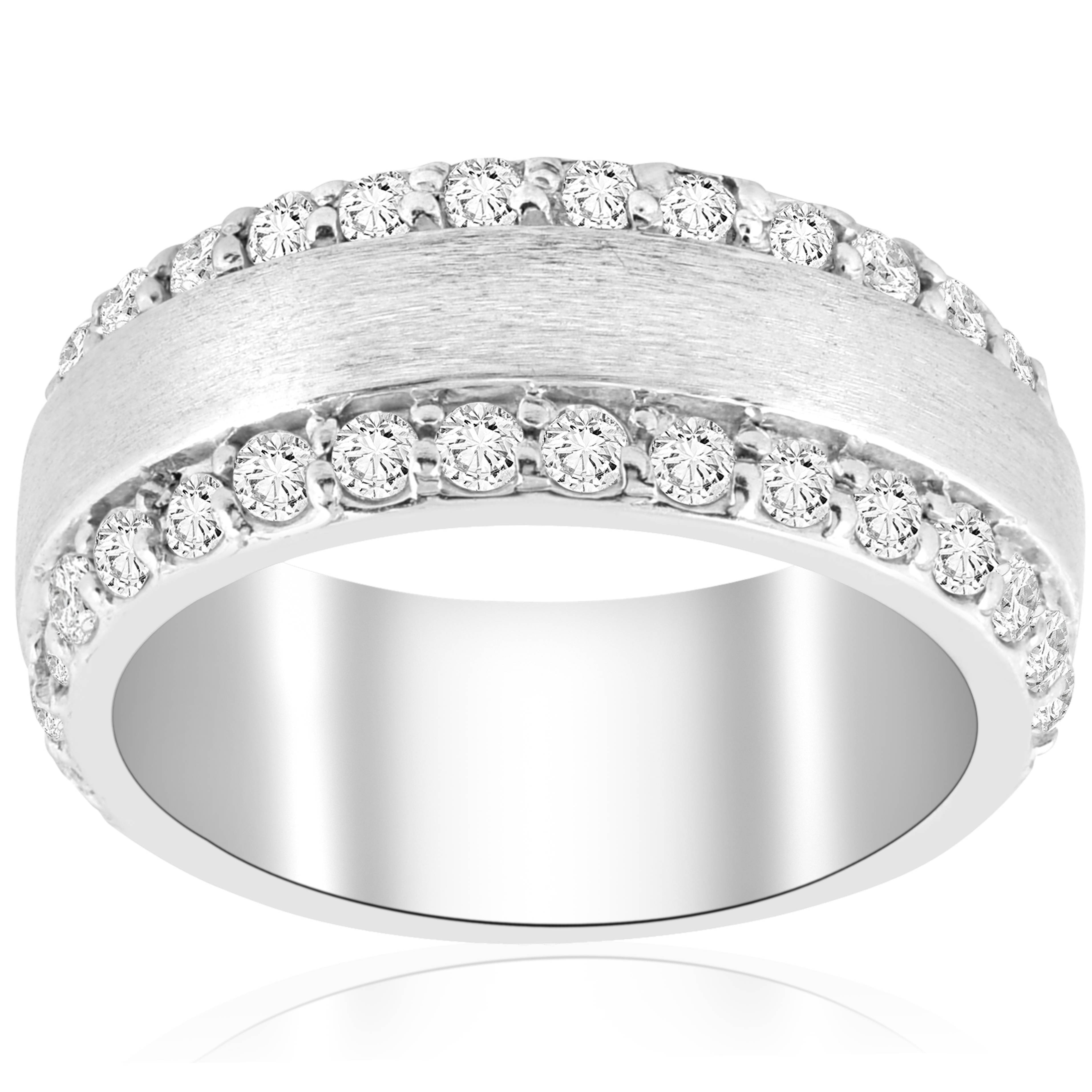 2 3/4 Ct Double Row Brushed Wide Heavy Wedding Anniversary Ring 14K White  Gold With Regard To Latest Diamond Three Row Anniversary Rings In White Gold (View 9 of 25)