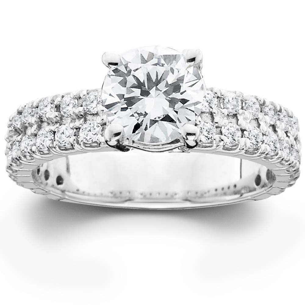 2 3/8Ct Solitaire Diamond Double Row Engagement Ring 14K White Gold Enhanced In 2019 Enhanced Black And White Diamond Three Row Anniversary Bands In White Gold (Gallery 3 of 25)