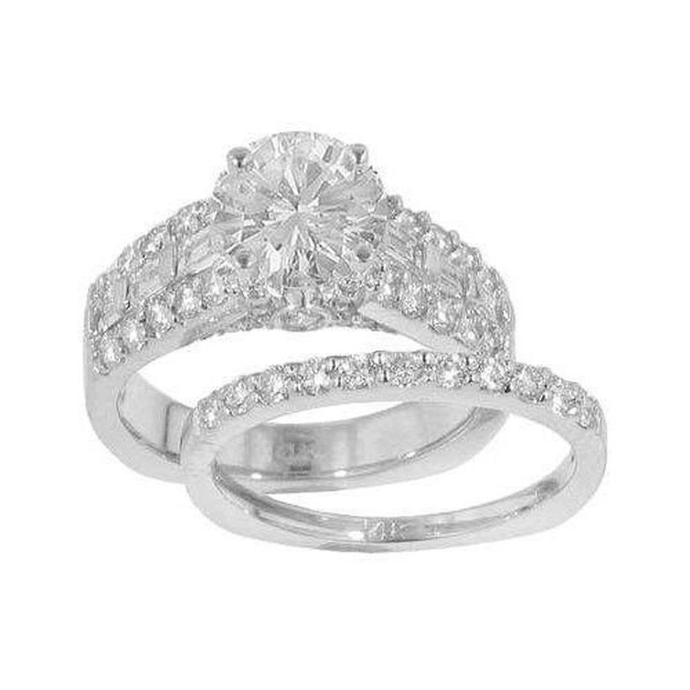 2.60 Ct. Tw Round Diamond Engagement Ring With Wedding Band In Platinum |  Ebay With Regard To Most Recently Released Diamond Anniversary Bands In Platinum (Gallery 19 of 25)