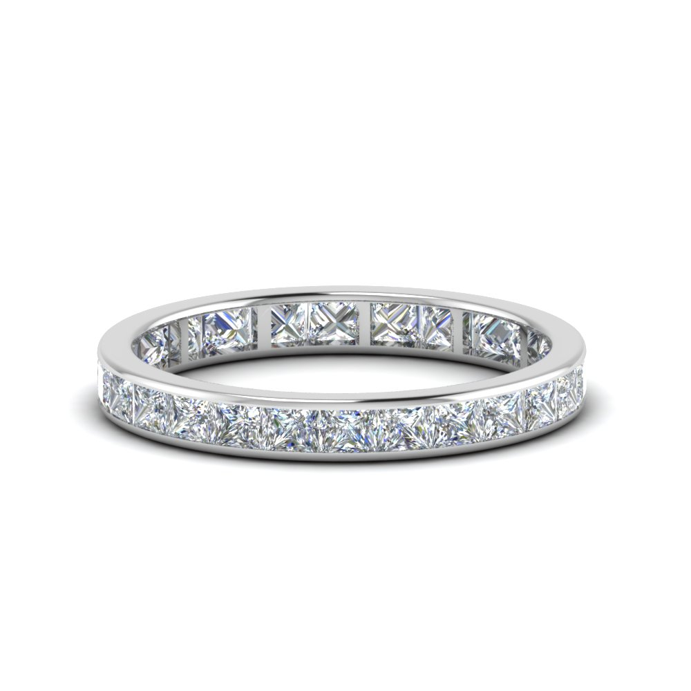 2 Carat Princess Diamond Eternity Band For Most Popular Diamond Three Row Collar Anniversary Bands In White Gold (Gallery 7 of 25)