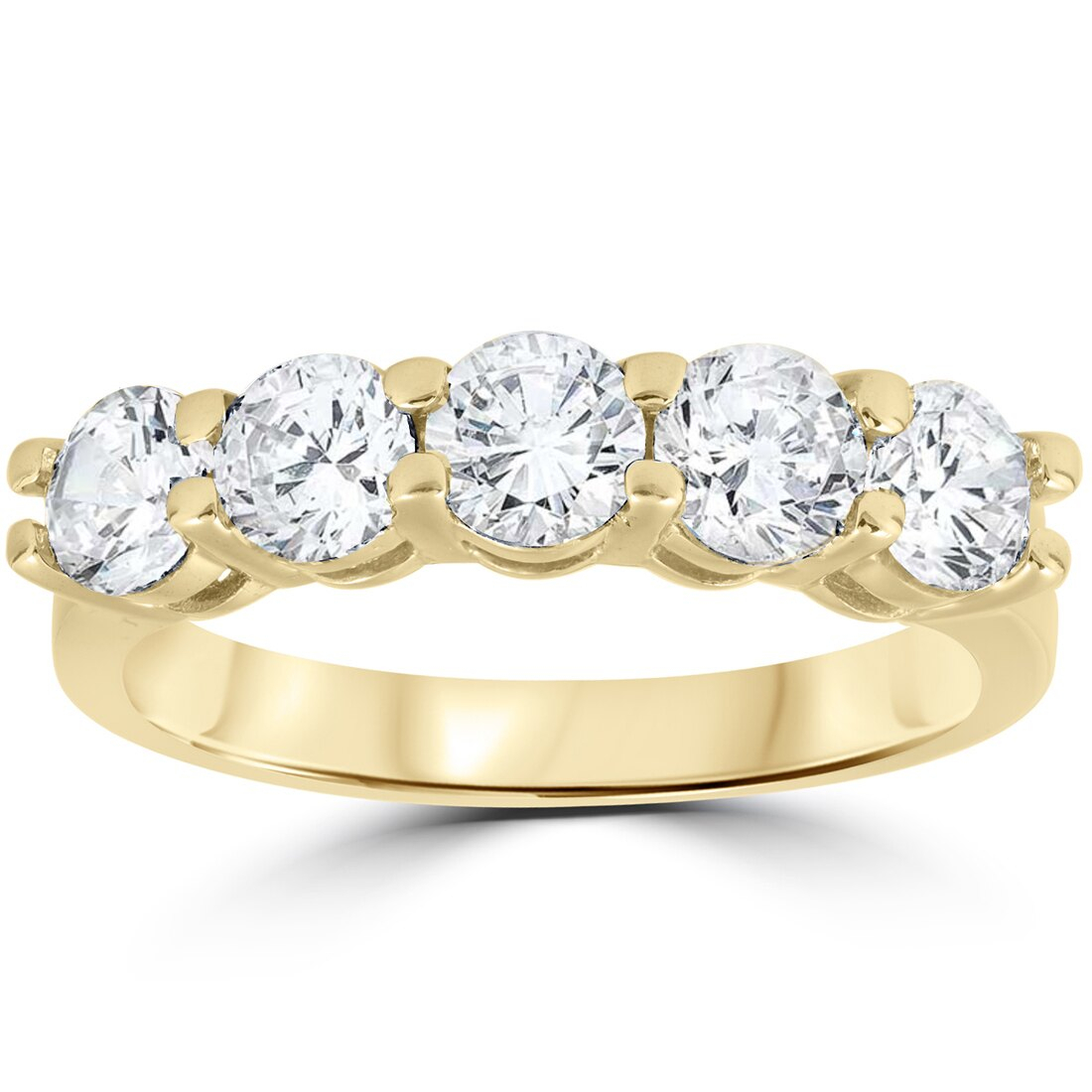 2 Ct Real Diamond Wedding Ring 14k Yellow Gold 5 Stone Womens Anniversary Band For Most Recently Released Composite Diamond Five Stone Anniversary Bands In White Gold (View 4 of 25)