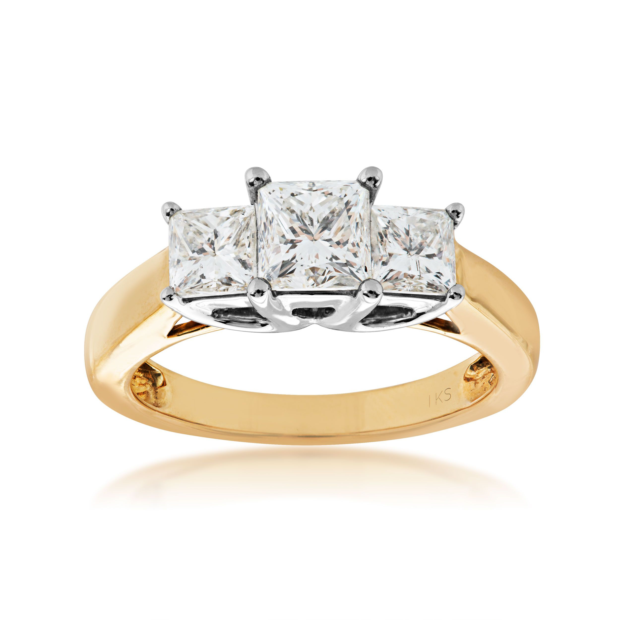 2 Ct. Tw. 3 Stone Princess Cut Diamond Anniversary Band In 14K Yellow Gold Inside Current Princess Cut Diamond Anniversary Bands In Gold (Gallery 19 of 25)