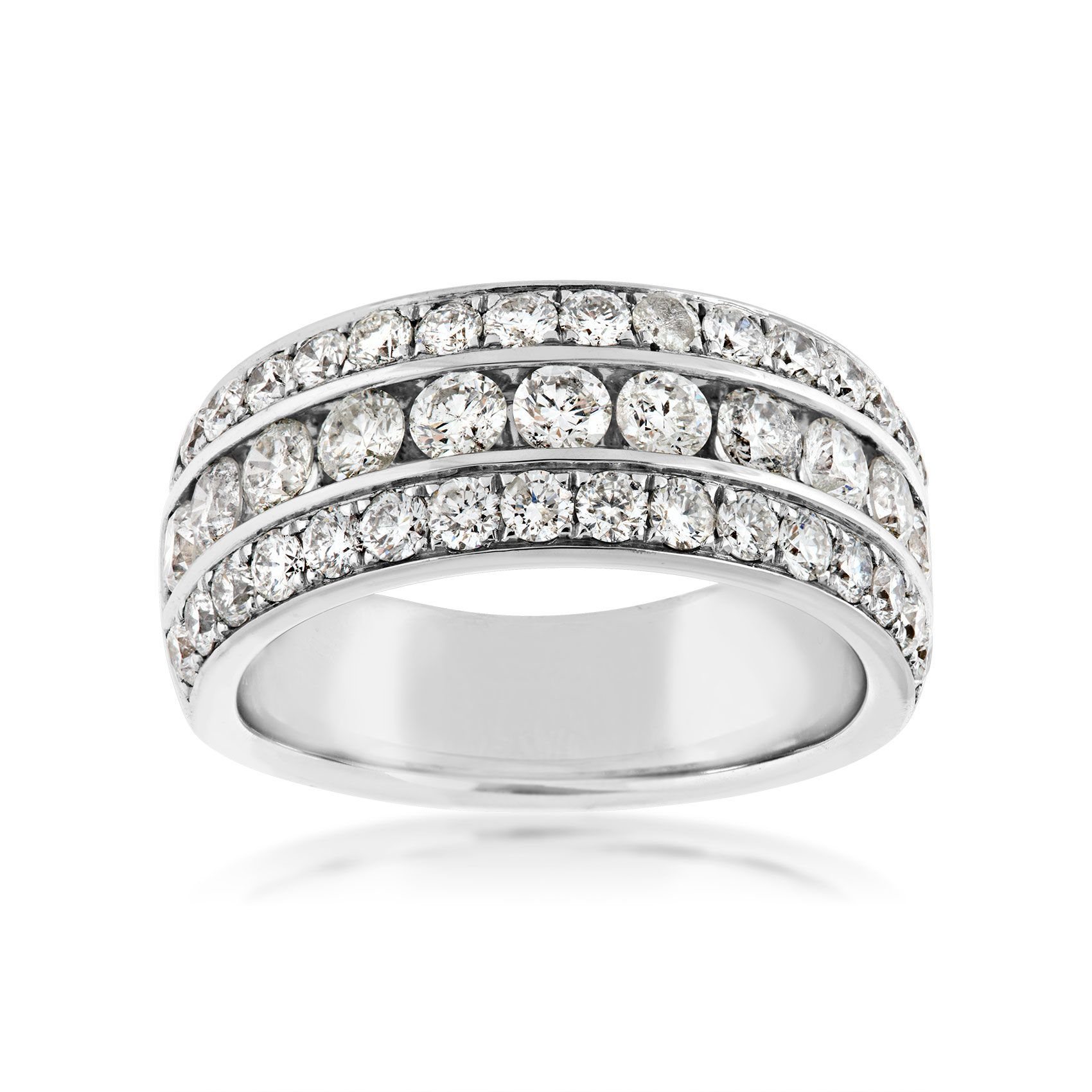 2 Ct. Tw. Diamond 3 Row Anniversary Ring In 14K White Gold – Jm2649 Rg14W070 Inside Latest Diamond Two Row Anniversary Rings In Gold (Gallery 19 of 25)