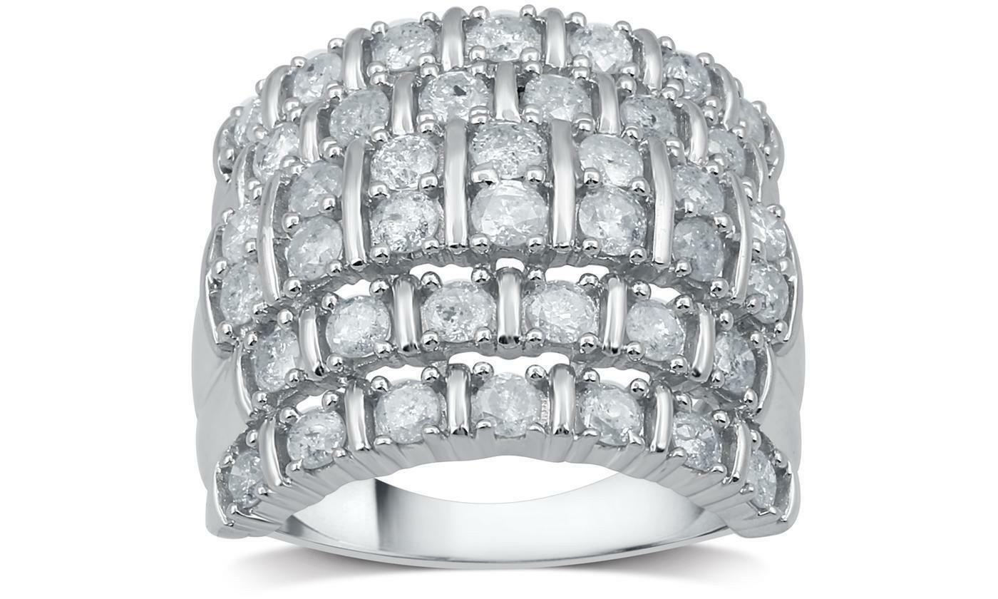 2 Cttw Diamond Multi Row Anniversary Ring Solid Sterling Silver Decarat In Recent Diamond Two Row Anniversary Bands In Sterling Silver (Gallery 8 of 25)