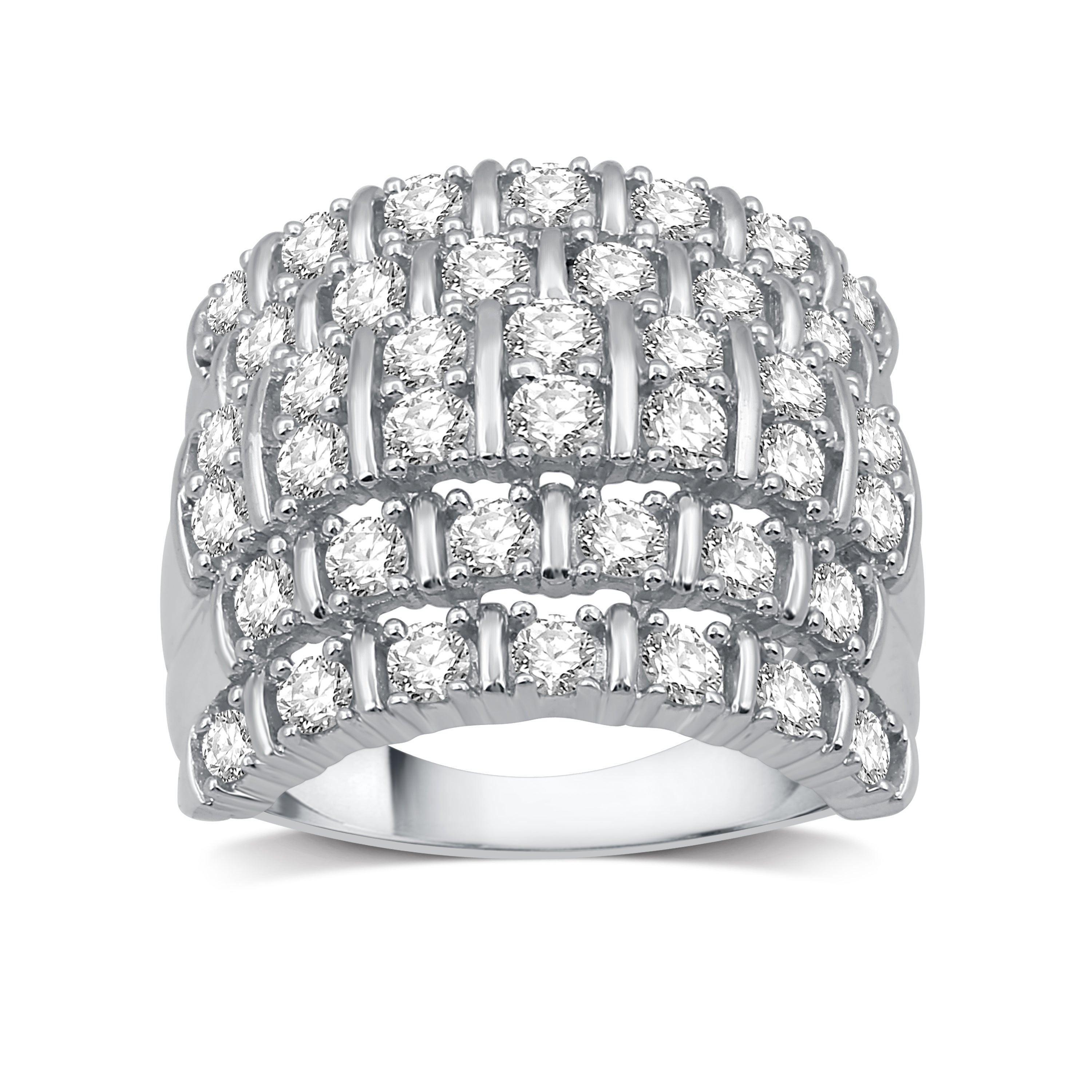 2 Cttw Diamond Multi Row Right Hand Ring In Sterling Silver (i J, I2 I3) – White I J Inside Most Current Diamond Two Row Anniversary Bands In Sterling Silver (View 2 of 25)