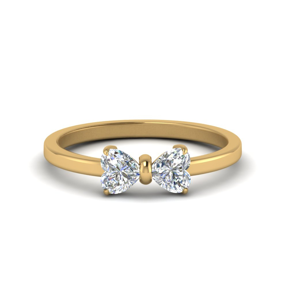 2 Heart Shaped Bow Diamond Ring Pertaining To 2019 Diamond Heart Shaped Anniversary Bands In Gold (View 5 of 25)