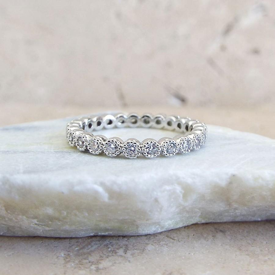2 Mm Full Eternity Band Milgrain Bezel Cz Wedding Ring Within Most Recent Diamond And Milgrain Anniversary Bands In White Gold (Gallery 12 of 25)