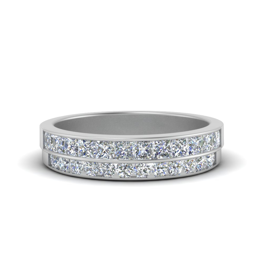 2 Row Diamond Wedding Band Regarding Most Recent Diamond Two Row Anniversary Bands In White Gold (View 2 of 25)