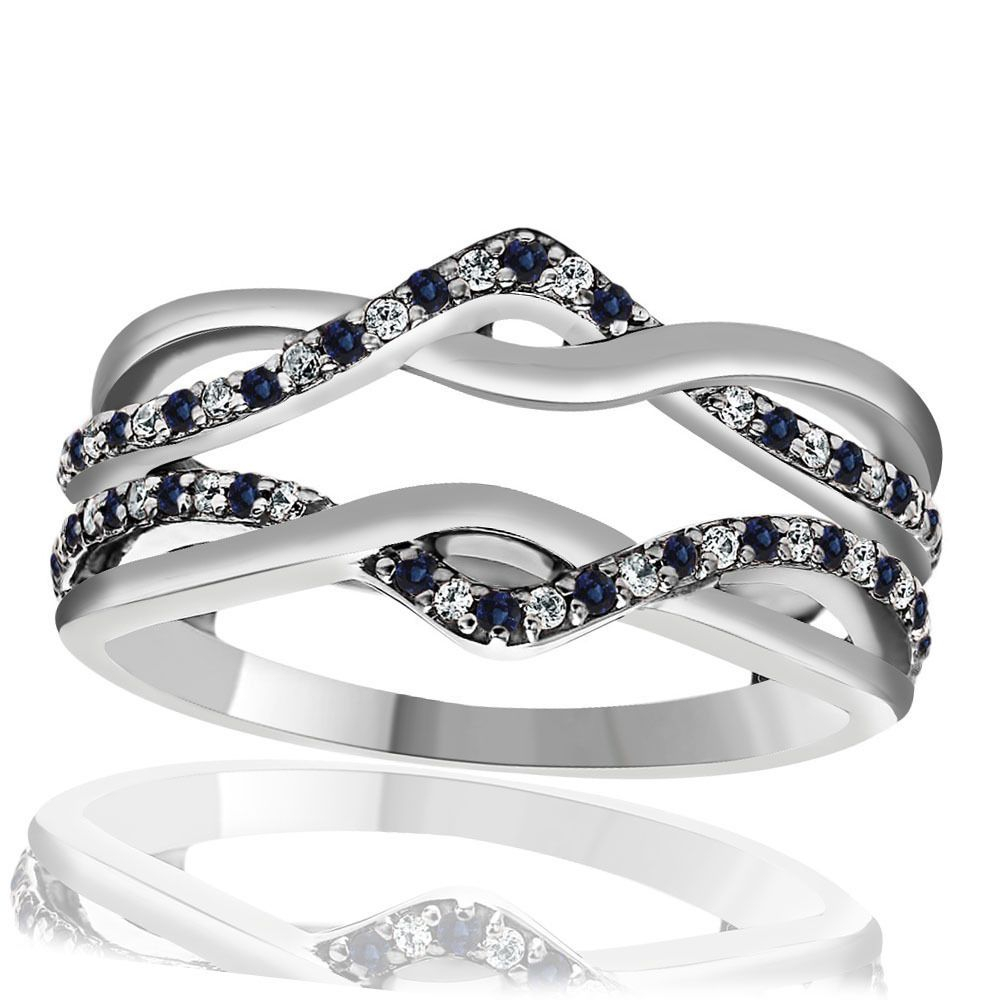 20 Ct Real Blue & White Diamond Infinity Ring Wrap Guard Within Best And Newest Enhanced Blue And White Diamond Anniversary Bands In White Gold (View 6 of 25)