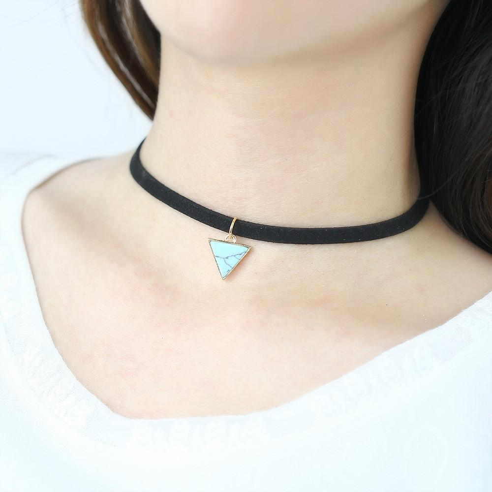 2016 Punk Black Velvet Choker Necklace Women Necklace Triangle Stone  Necklaces Choker Necklaces Collar Crew Neck New Fashion Regarding Most Up To Date Woven Fabric Choker Slider Necklaces (Gallery 11 of 25)