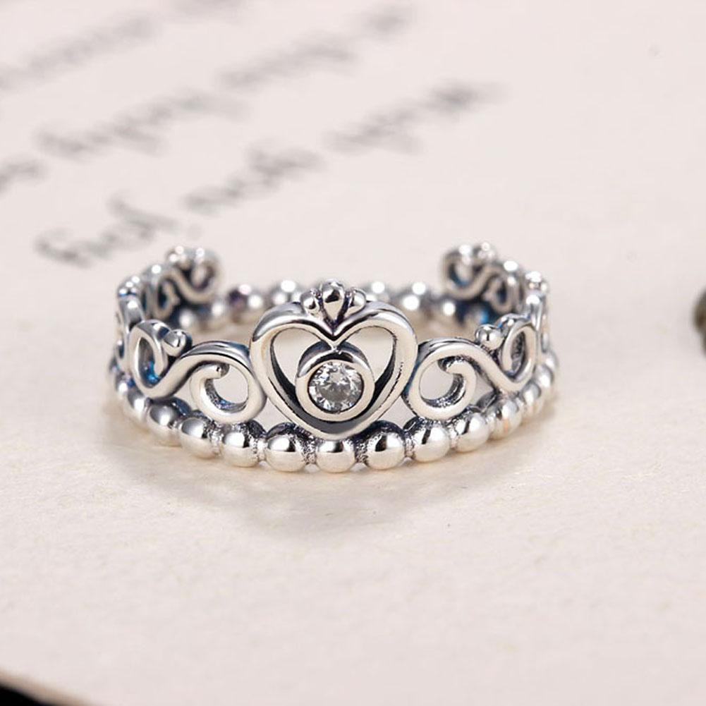 2017 New Silver Princess Tiara Rings For Women With Aaa Zircon Vintage  Silver Princess Crown Rings For Women Wedding Jewelry With Most Recent Princess Tiara Crown Rings (View 4 of 25)