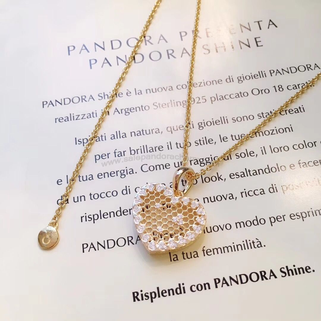 2018 Discount Pandora Shine Honeycomb Lace Necklace And Earring Set For Best And Newest Heart Honeycomb Lace Pendant Necklaces (View 1 of 25)