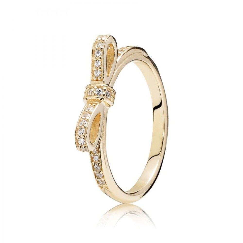 2019 的 Pandora 14Ct Gold Delicate Bow Ring Set With Sparkling Cubic With Regard To 2017 Classic Bow Rings (Gallery 1 of 25)