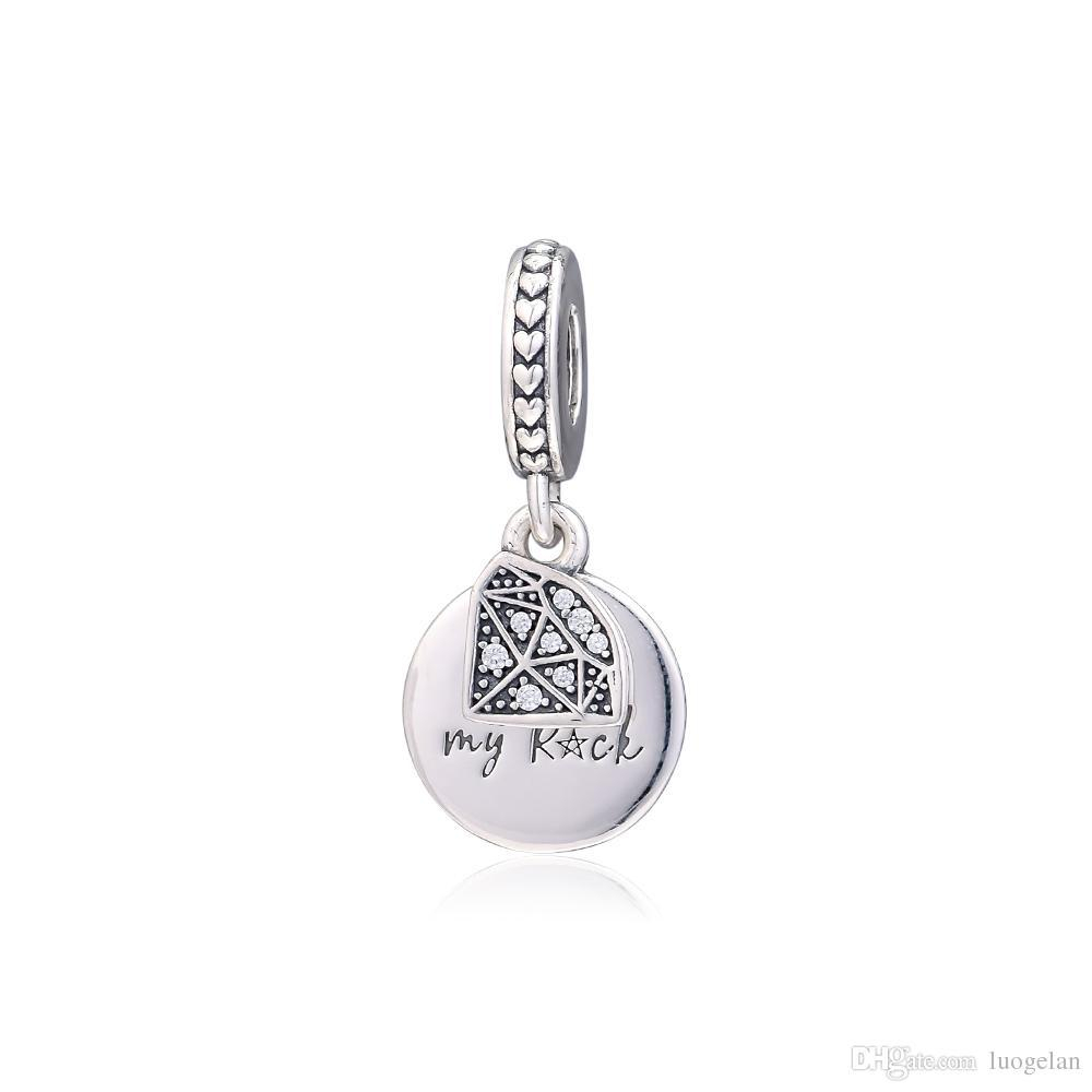 2019 Mother S Day 925 Sterling Silver Jewelry My Rock Dangle Charm Beads Fits Pandora Bracelets Necklace For Women Diy Making In 2020 Pandora Lockets Logo Dangle Charm Necklaces (View 14 of 25)