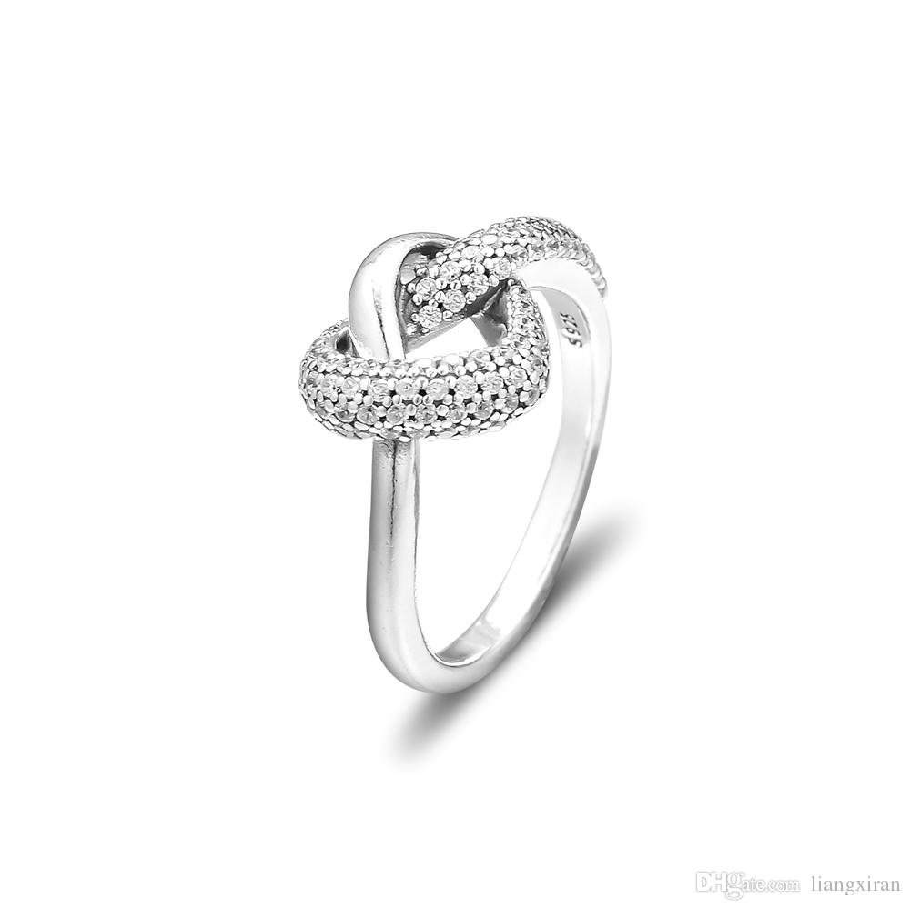 2019 New 925 Sterling Silver Rings Knotted Heart Ring Original Fashion  Engagement Wedding Pandora Rings Diy Charms Jewelry For Women Throughout Most Popular Knotted Hearts Rings (View 1 of 25)