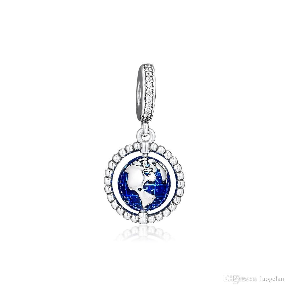 2019 Original 925 Sterling Silver Jewelry Globe Dangle Charm Beads Fits  European Pandora Bracelets Necklace For Women Making With Regard To 2019 Pandora Lockets Logo Dangle Charm Necklaces (Gallery 18 of 25)