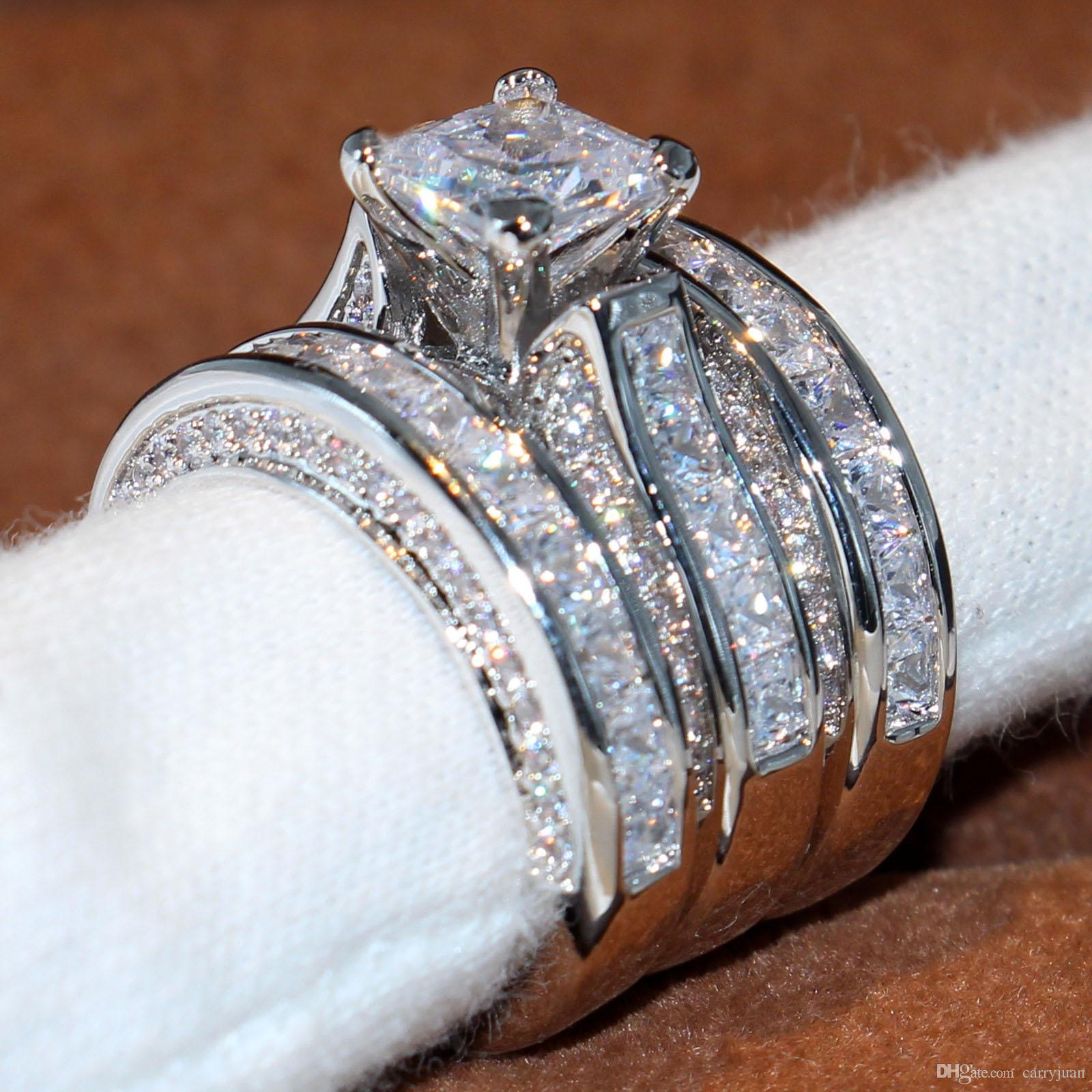 """2019 Size 5 12 Top Sparkling Luxury Jewelry 925 Sterling Silver Wedding  Ring Princess Cut 3 In 1 White Topaz Cz Diamond Women Band Ring Set Gift  From With Regard To Most Recent Diamond Seven Stone """"s"""" Anniversary Bands In Sterling Silver (Gallery 7 of 25)"""
