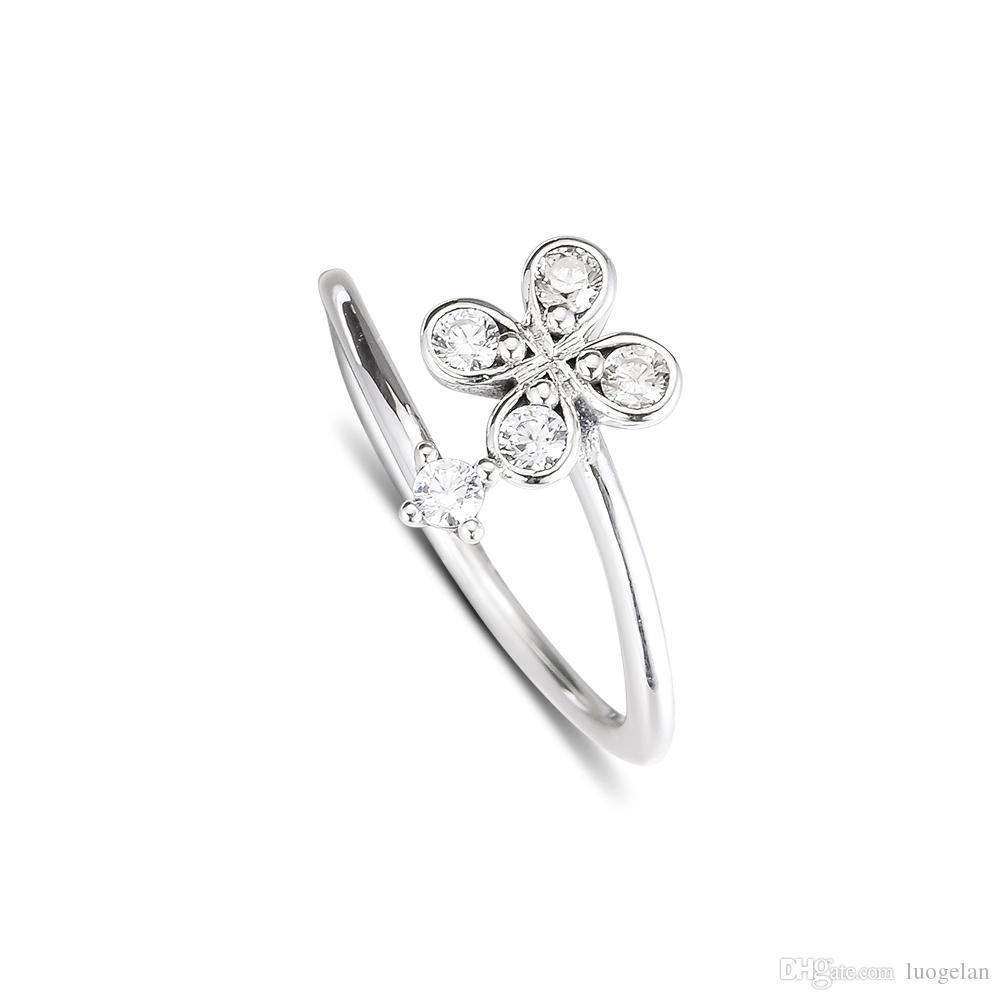 2019 Spring 925 Sterling Silver Rings Four Petal Flower Ring Original  Fashion Engagement Wedding Pandora Rings Diy Charms Jewelry For Women Pertaining To Most Current Four Petal Flower Rings (View 4 of 25)
