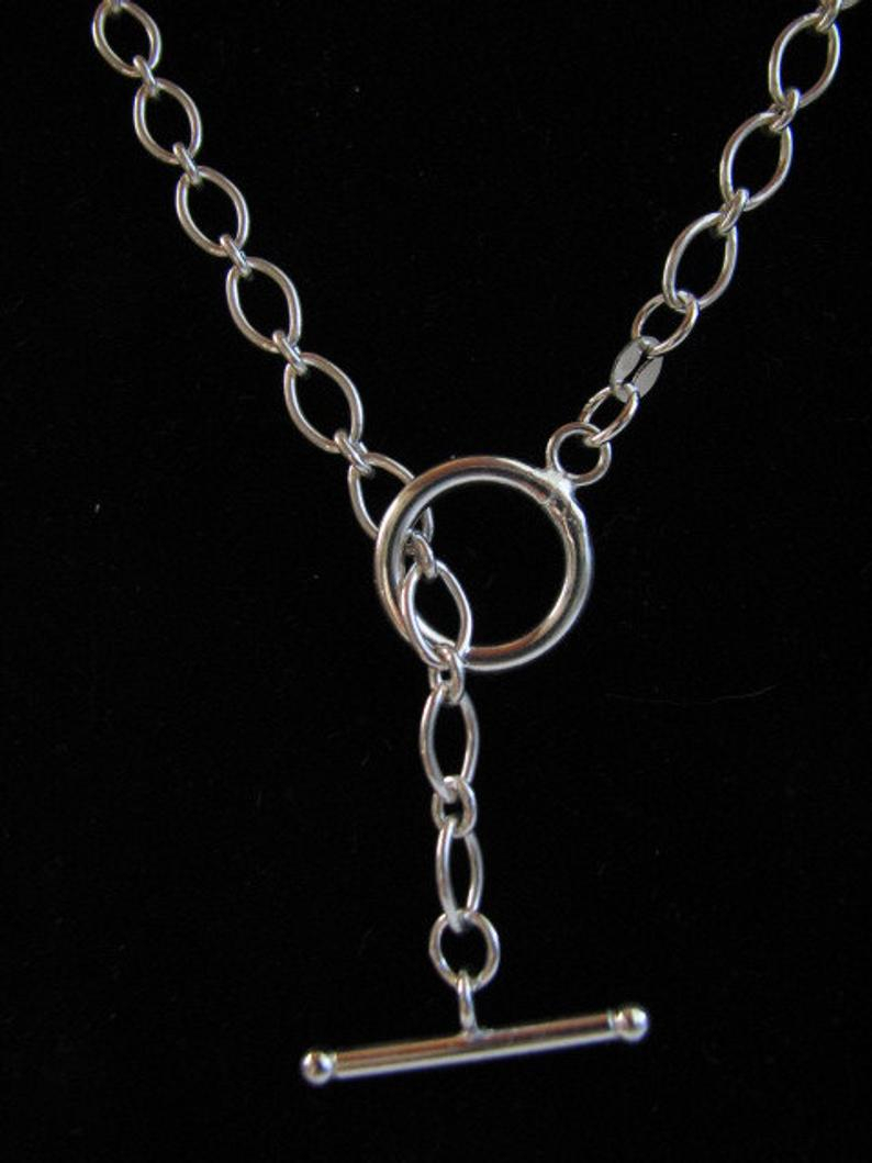 22 Inch Classic Oval Link Sterling Silver Toggle Necklace Throughout Latest Classic Cable Chain Necklaces (Gallery 14 of 25)