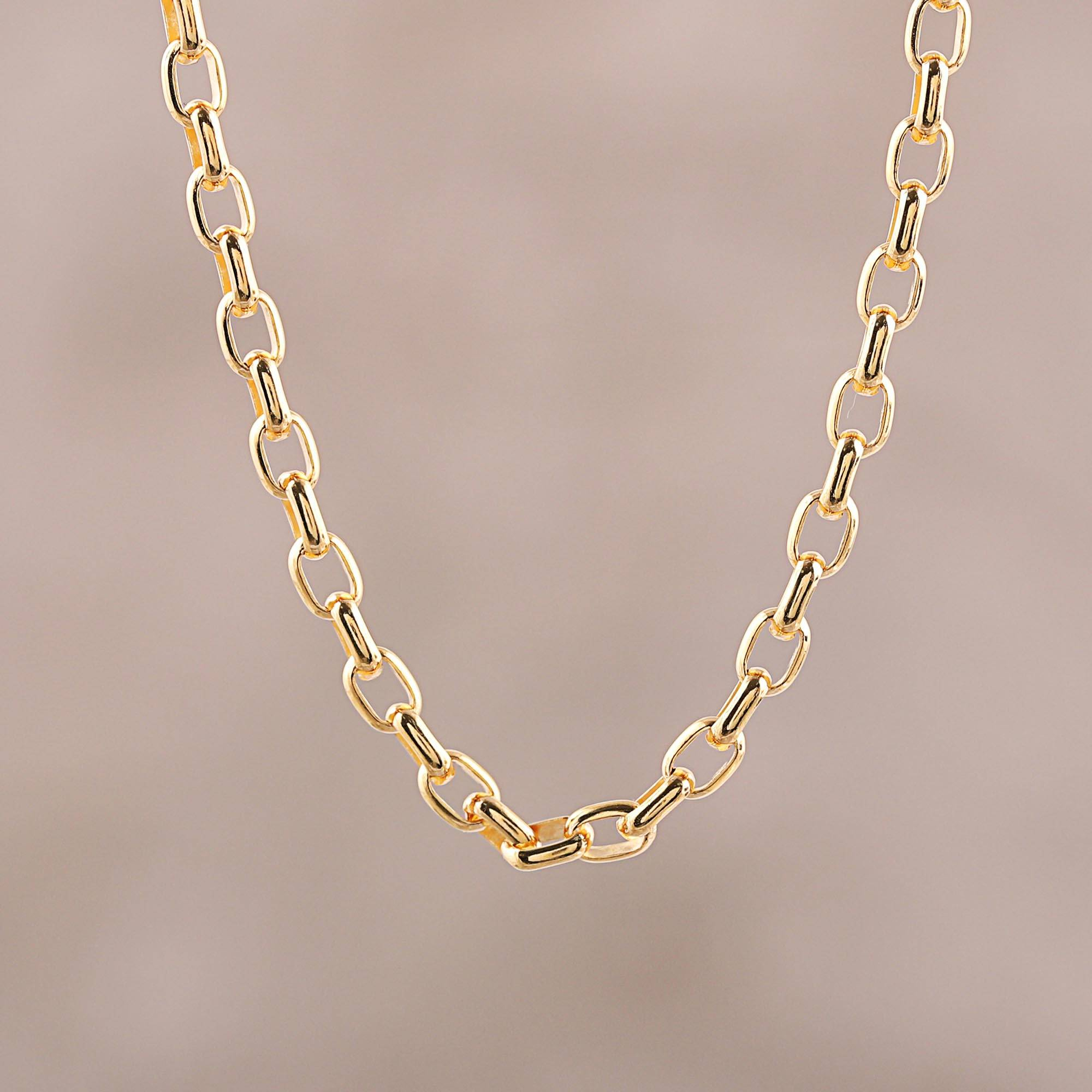 22K Gold Plated Sterling Silver Chain Necklace From India, 'classic Gold' Regarding Newest Classic Cable Chain Necklaces (Gallery 8 of 25)