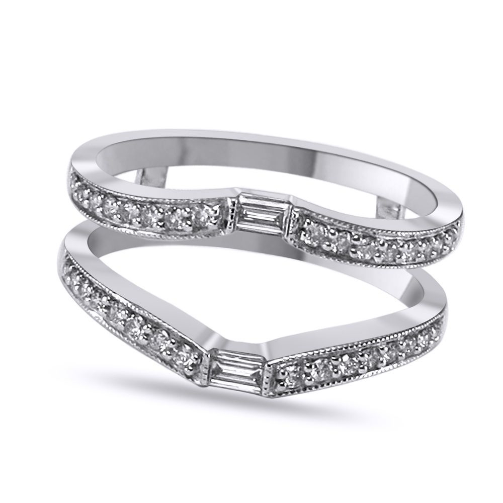 25 Ct Baguette/round Diamond Ring Wrap Guard Enhancer 14K For Most Current Enhanced Black And White Diamond Anniversary Bands In Sterling Silver (Gallery 10 of 25)