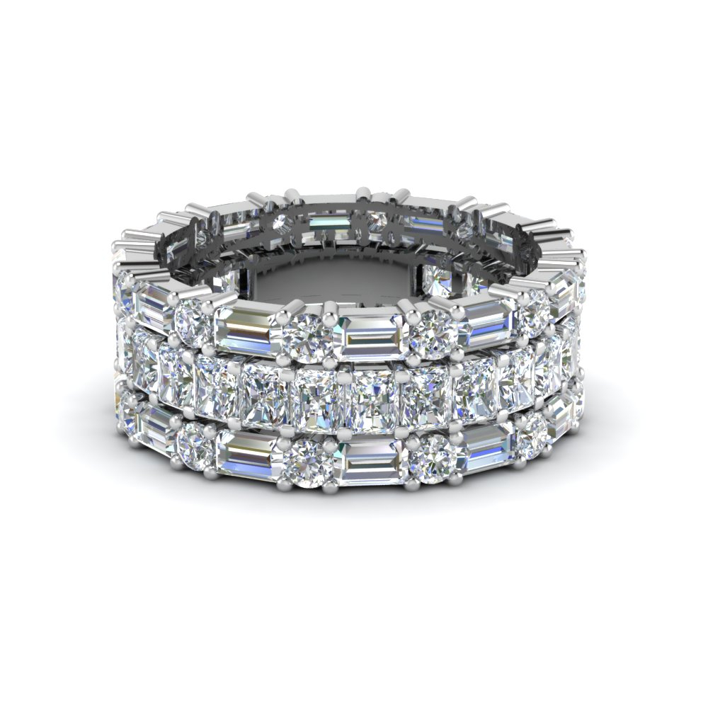 3 Piece Diamond Eternity Anniversary Band Pertaining To Newest Diamond Eternity Anniversary Bands In White Gold (View 4 of 25)