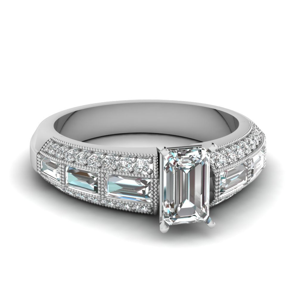 3 Row Baguette And Round Accents Diamond Ring Within Most Popular Round And Baguette Diamond Vintage Style Anniversary Bands In White Gold (View 6 of 25)