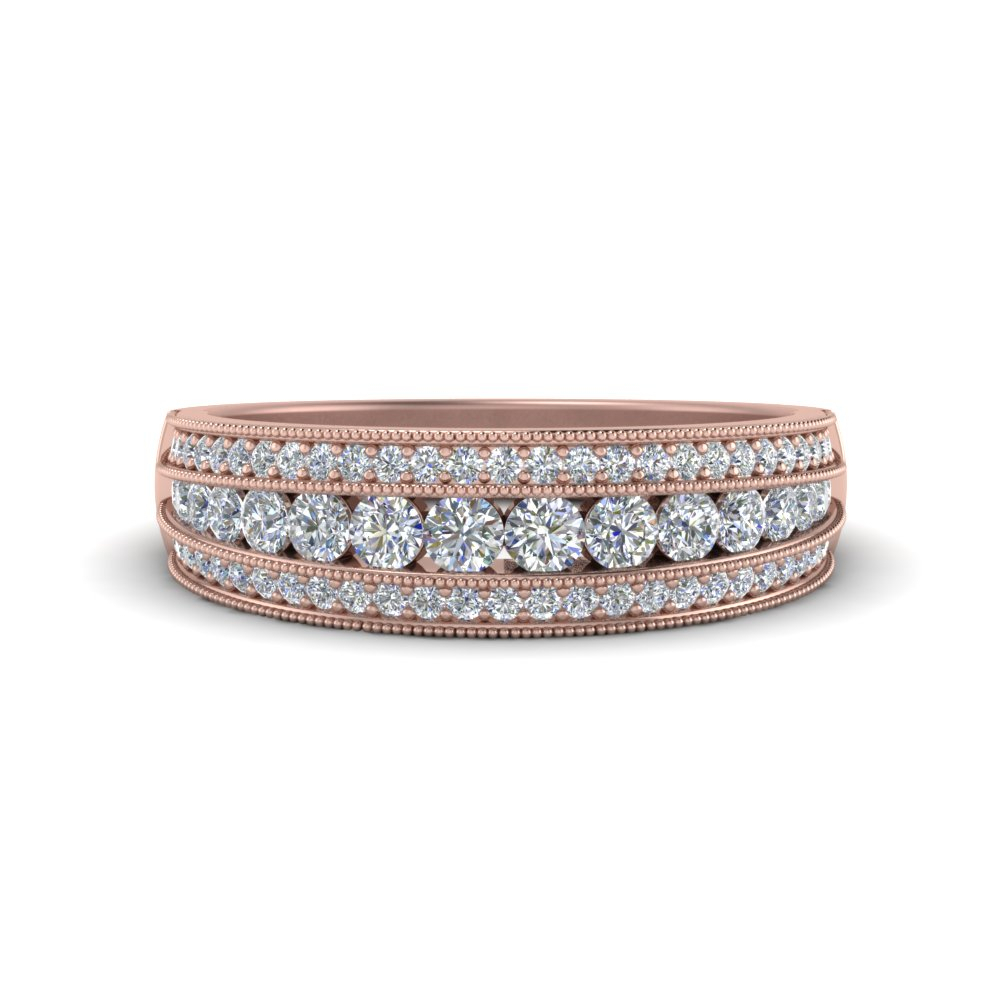 3 Row Diamond Milgrain Band Regarding 2019 Diamond Three Row Anniversary Bands In Rose Gold (View 5 of 25)