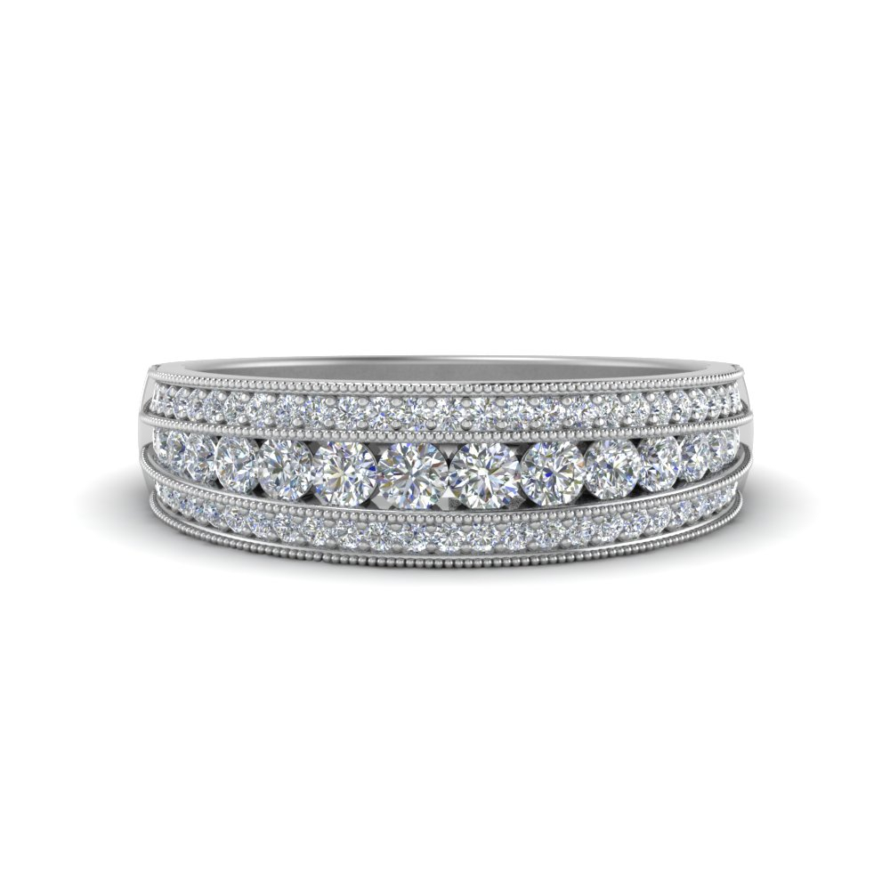 3 Row Diamond Milgrain Band With Regard To Most Recent Diamond Five Stone Triple Row Anniversary Bands In White Gold (View 8 of 25)