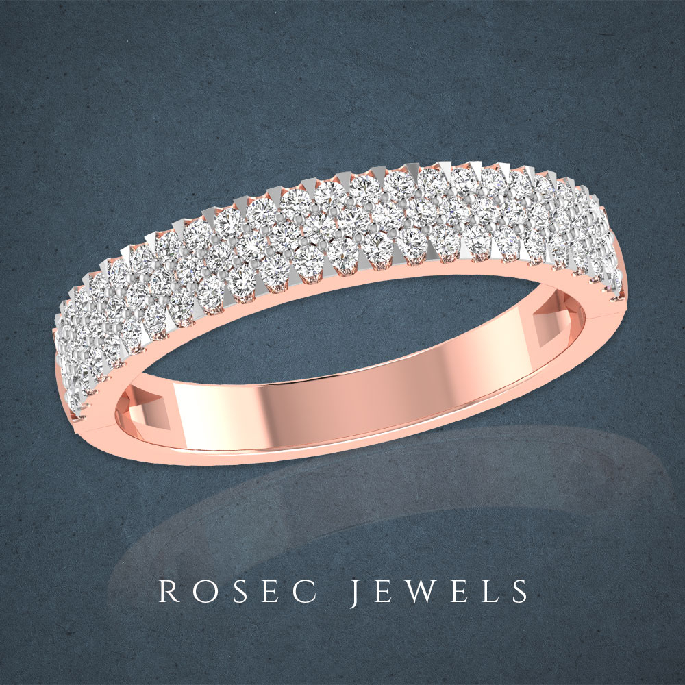 3 Row Diamond Wedding Band, 14K Rose Gold Pave Diamond Intended For Newest Diamond Three Row Anniversary Bands In Rose Gold (View 6 of 25)