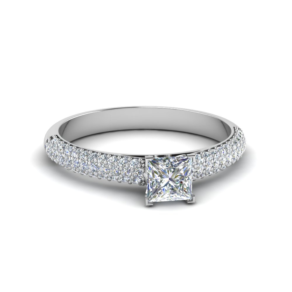 3 Row Pave Princess Cut Moissanite Ring In 14K White Gold For Recent Princess Cut And Round Diamond Three Row Anniversary Bands In White Gold (View 4 of 25)