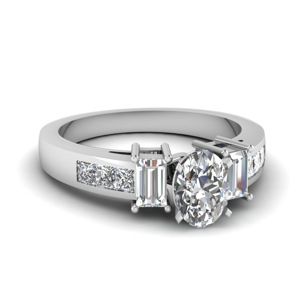 3 Stone Channel Diamond Ring Intended For Most Current Enhanced Black And White Diamond Three Row Anniversary Bands In White Gold (View 11 of 25)