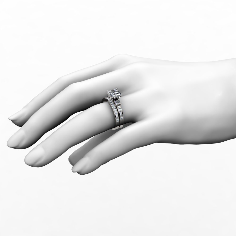3 Stone Princess Cut Engagement Ring & Wedding Band Bridal Set Within Most Recently Released Princess Cut And Round Diamond Three Row Anniversary Bands In White Gold (View 5 of 25)
