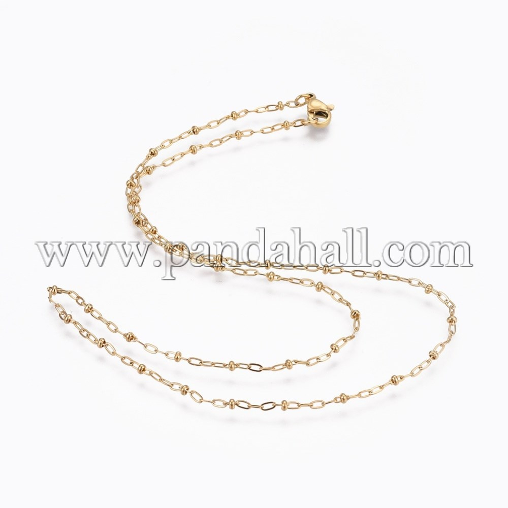 "304 Stainless Steel Cable Chain Necklaces, Golden, 18.2""(46.2Cm); 2Mm Throughout Most Popular Cable Chain Necklaces (Gallery 12 of 25)"