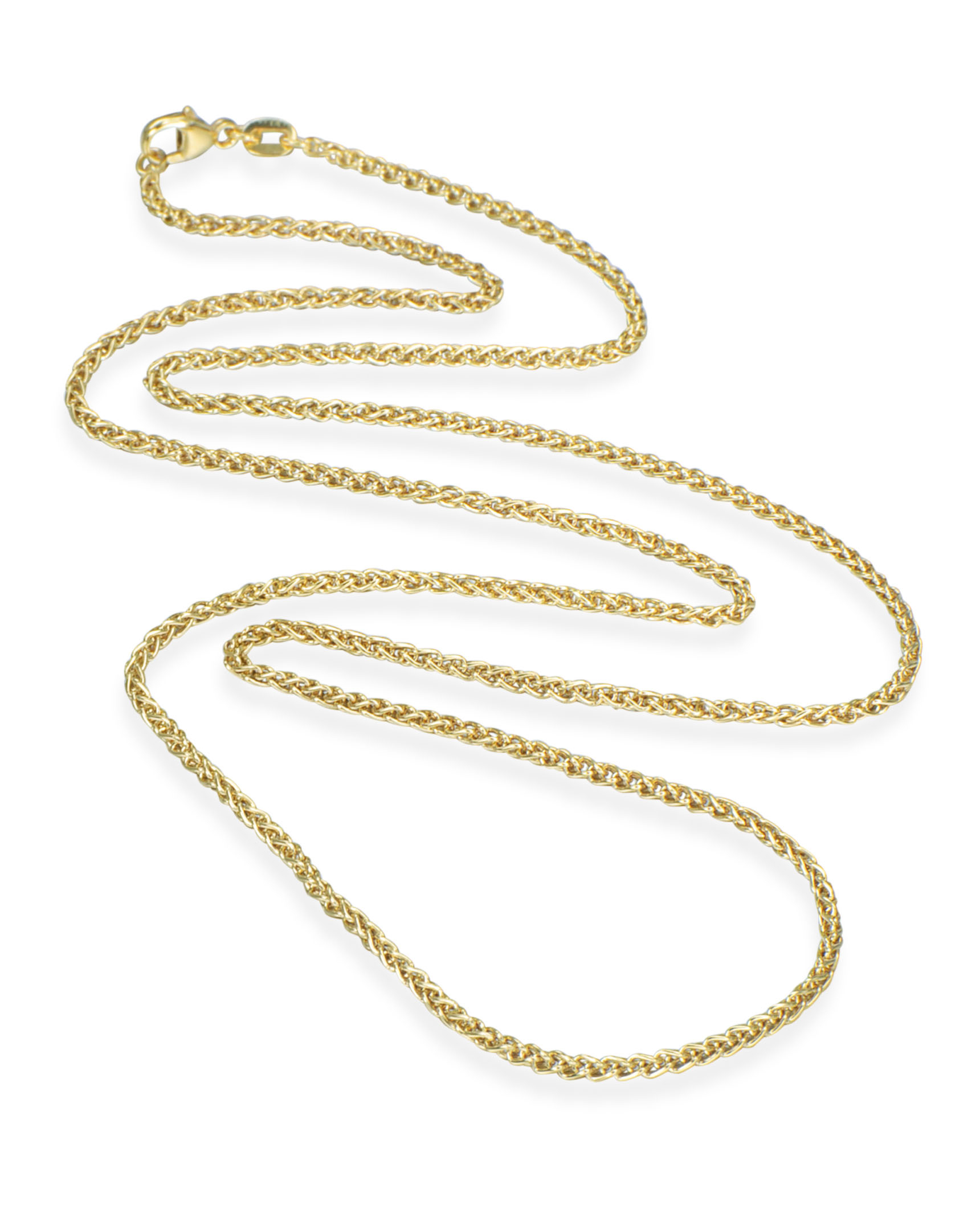 30″ Yellow Gold Wheat Chain Necklace Throughout Current Wheat Pendant Necklaces (View 6 of 25)
