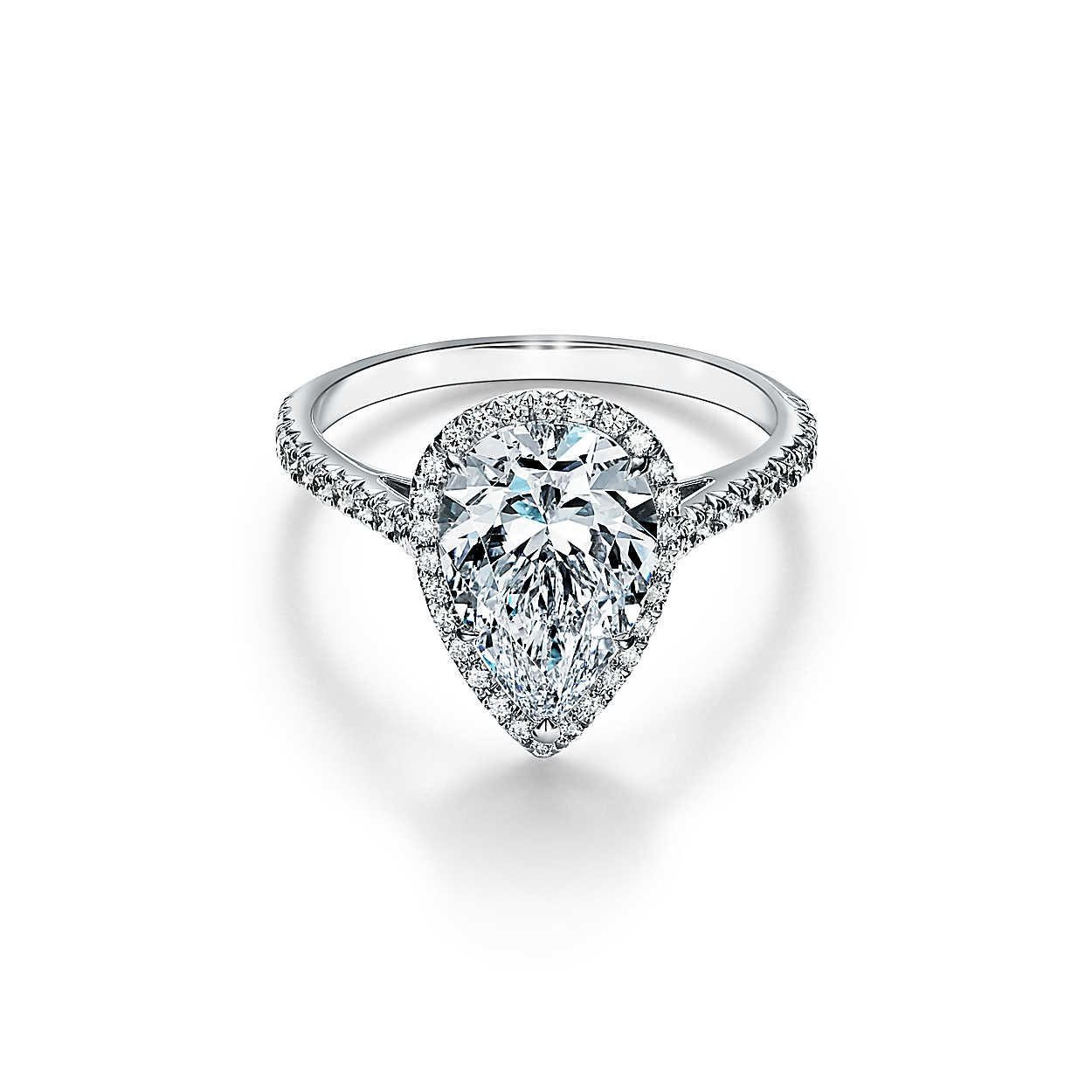 34 Pear Shaped Engagement Rings For Every Bride With Regard To Best And Newest Classic Teardrop Halo Rings (View 15 of 25)