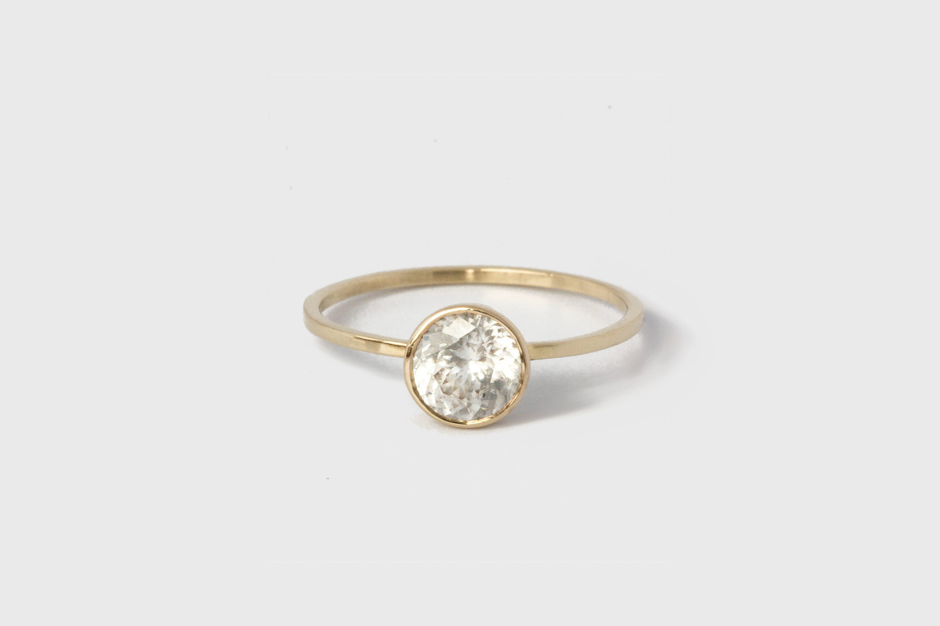 38 Small Engagement Rings For The Low Key Bride Within Current Champagne And White Diamond Edge Anniversary Bands In Rose Gold (View 7 of 25)
