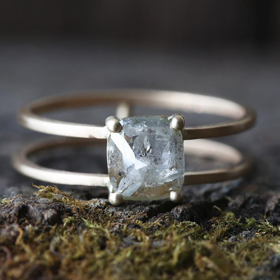 39 Unique Raw, Rustic & Rough Diamond Engagement Rings Inside Most Current Diamond Multi Triangle Anniversary Rings In White Gold (View 7 of 25)