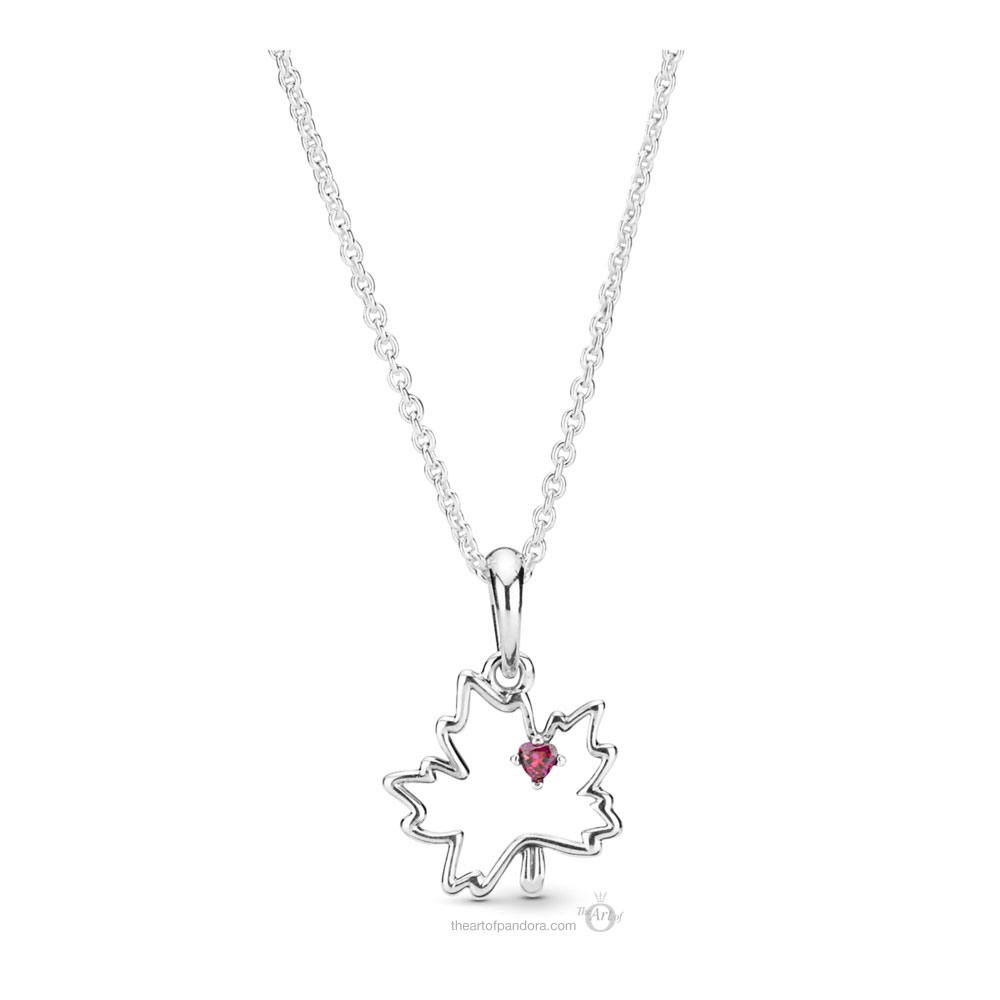 398026Czr 45 Pandora Maple Leaf Pendant Necklace – The Art Of Pertaining To Most Up To Date Pandora Moments Small O Pendant Necklaces (Gallery 7 of 25)